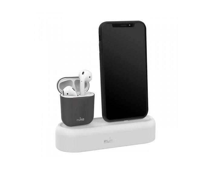 Puro Icon Silicon Desk Holder (APDH1-GREY) Βάση φόρτισης για iPhone και Airpods - Grey