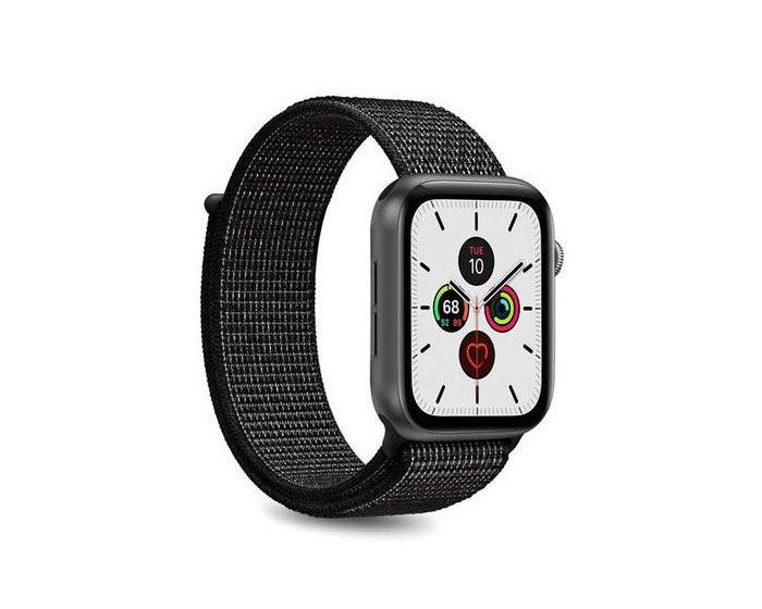 Puro Sport Nylon Strap Υφασμάτινο Λουράκι Black για Apple Watch 42/44mm (1/2/3/4/5/6/SE)