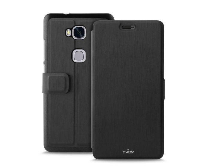 PURO Θήκη Πορτοφόλι με δυνατότητα Stand Black (HWHONOR5XBOOKCBLK) (Huawei Honor 5X)