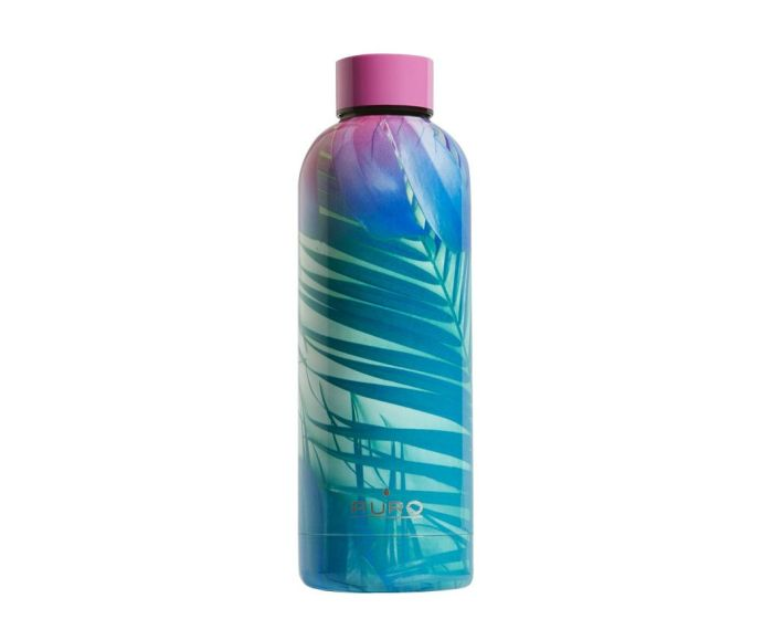 Puro Tropical Palms Stainless Steel Bottle 500ml Θερμός Pink