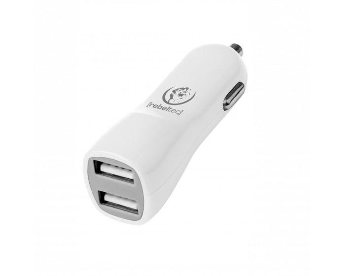 Rebeltec DUAL A20 High Speed Car Charger Διπλός Φορτιστής Αυτοκινήτου 2x USB 2.1A - White