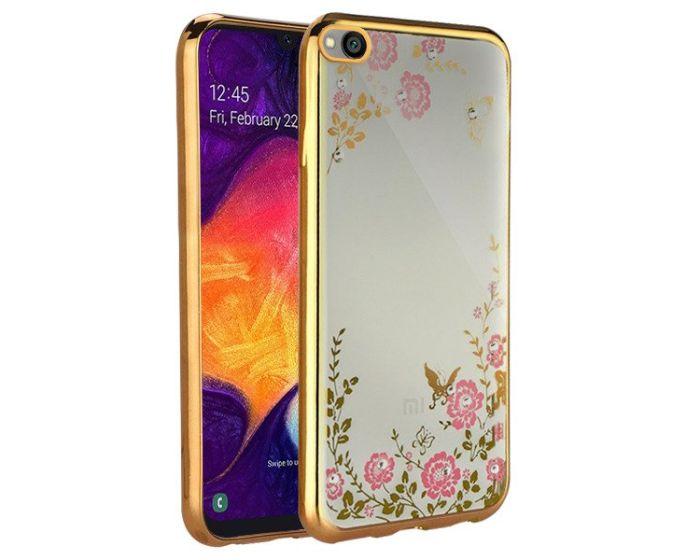 Forcell Strass TPU Case Diamond Garden - Θήκη σιλικόνης με Στρας Gold (Xiaomi Redmi Go)