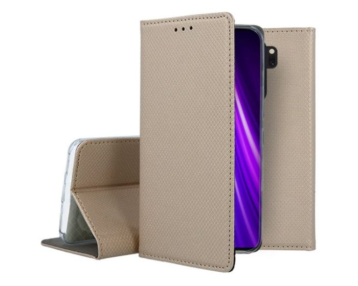 Forcell Smart Book Case με Δυνατότητα Stand Θήκη Πορτοφόλι Gold (Xiaomi Redmi Note 8 Pro)