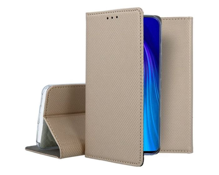 Forcell Smart Book Case με Δυνατότητα Stand Θήκη Πορτοφόλι Gold (Xiaomi Redmi Note 8T)