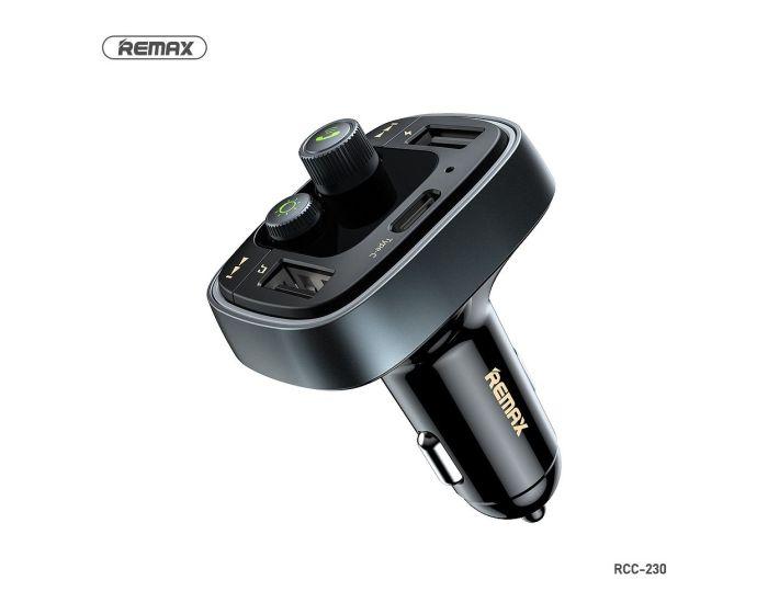 Remax FM Transmitter (RCC230) Car Charger 4.8A 2xUSB Φορτιστής Αυτοκινήτου Black