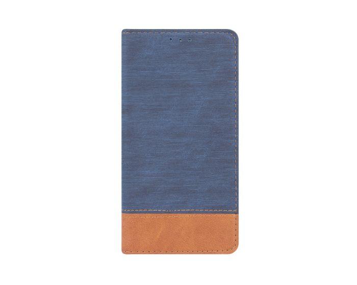 Retro Canvas Wallet Case Θήκη Πορτοφόλι με Δυνατότητα Stand Navy Blue / Brown (Nokia 6)