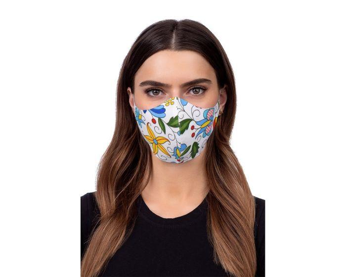 Reusable Profiled Face Mask Προστατευτική Μάσκα Προσώπου - Folklore 2 White