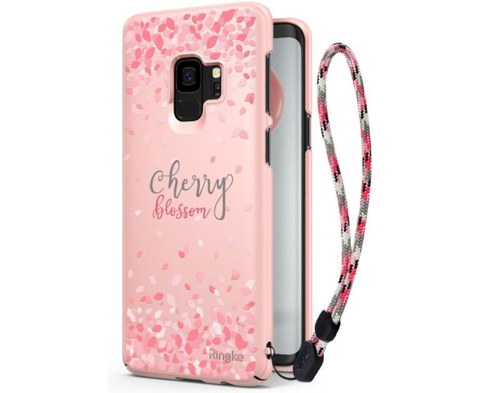 Ringke Slim Fit Hard Case Cherry Blossom Limited Edition (with Strap) - Peach Pink (Samsung Galaxy S9)