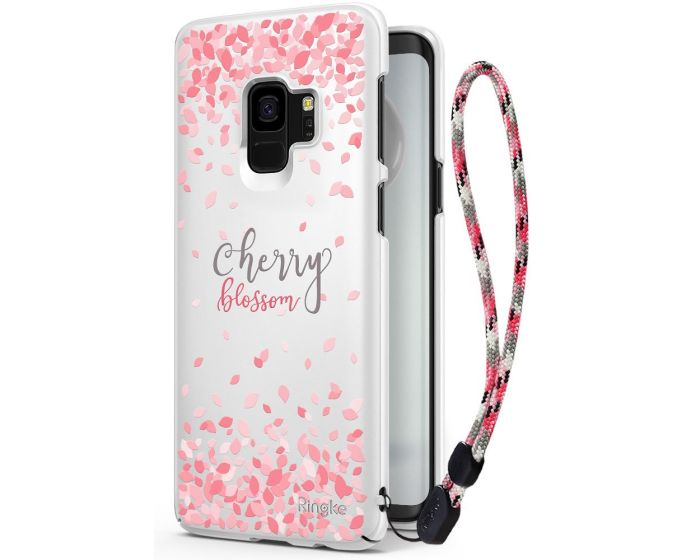 Ringke Slim Fit Hard Case Cherry Blossom Limited Edition (with Strap) - White (Samsung Galaxy S9)