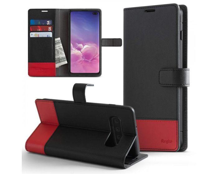 Ringke Wallet Case Θήκη Πορτοφόλι με δυνατότητα Stand Black / Red (Samsung Galaxy S10)