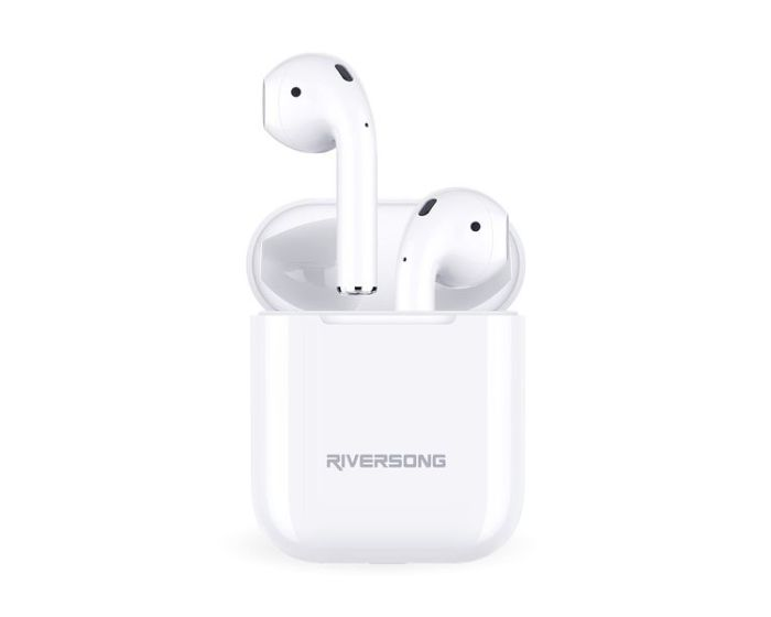 Riversong Air X18 TWS True Wireless Bluetooth Stereo Earbuds with Charging Box - White