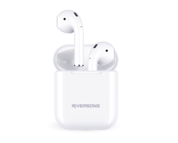 Riversong X5+ TWS True Wireless Bluetooth Stereo Earbuds with Charging Box - White