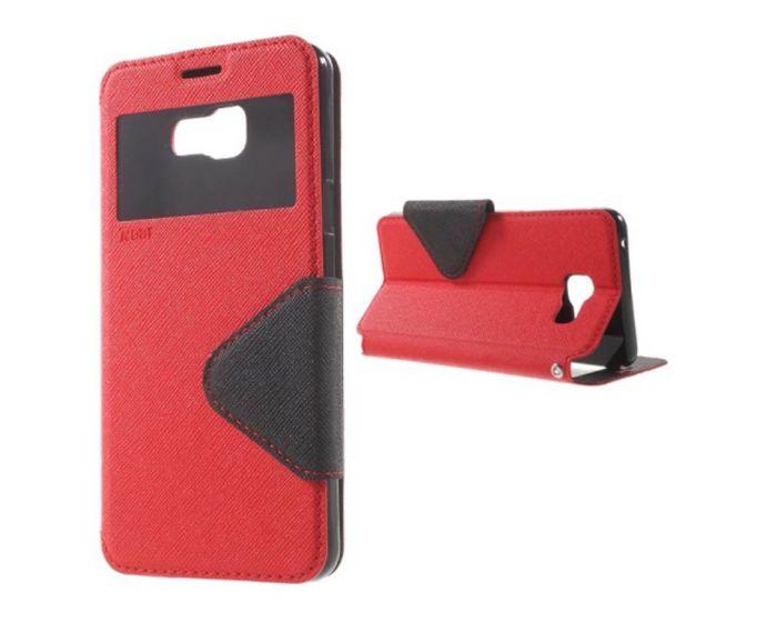 Roar S View Fancy Diary με Παράθυρο και Δυνατότητα Πλάγιας Στήριξης Red - Black (LG K4)