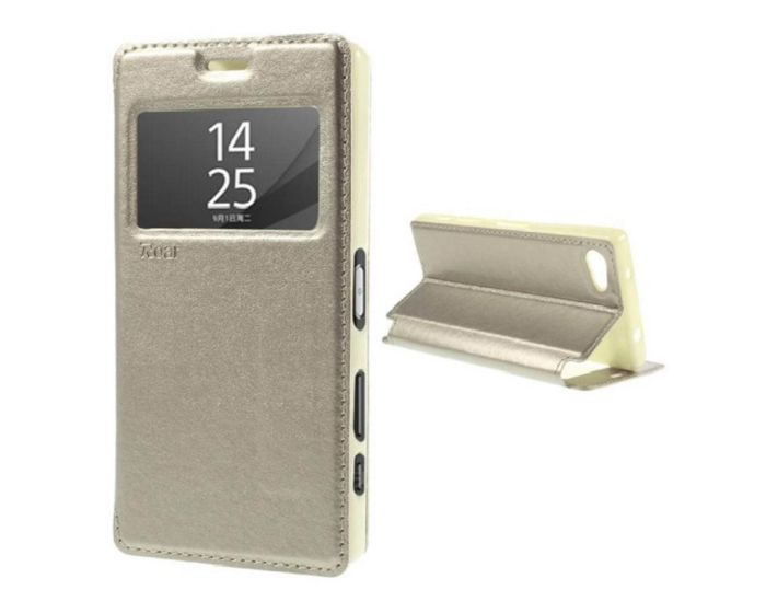 Roar Noble View Case Θήκη με Παράθυρο και δυνατότητα Stand Gold (Sony Xperia Z5 Compact)