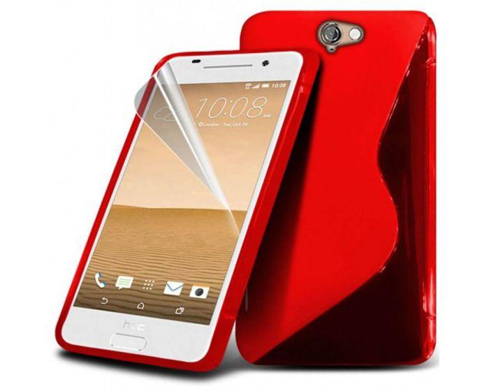S-line Silicone Θήκη Σιλικόνης Κόκκινο + Μεμβράνη Οθόνης (HTC One A9)