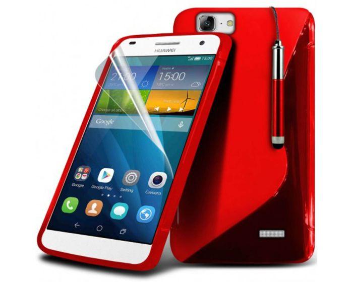 S-line Silicone Θήκη Σιλικόνης Κόκκινο + Μεμβράνη Οθόνης (Huawei Ascend G7)