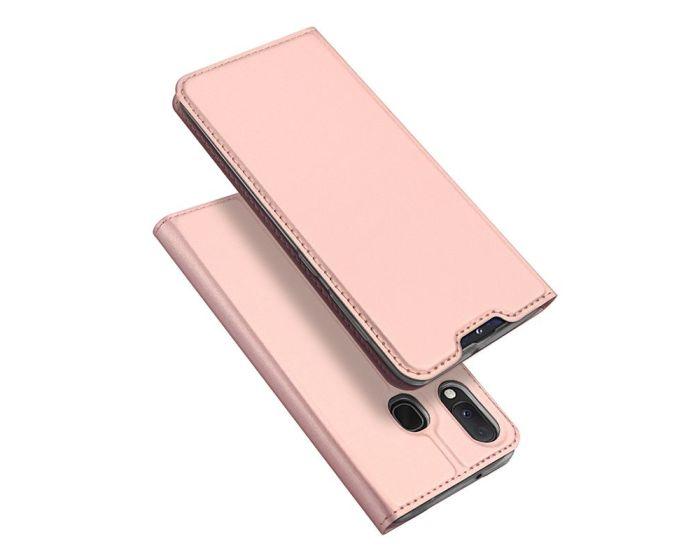 DUX DUCIS SkinPro Wallet Case Θήκη Πορτοφόλι με Stand - Rose Gold (Samsung Galaxy A20e)