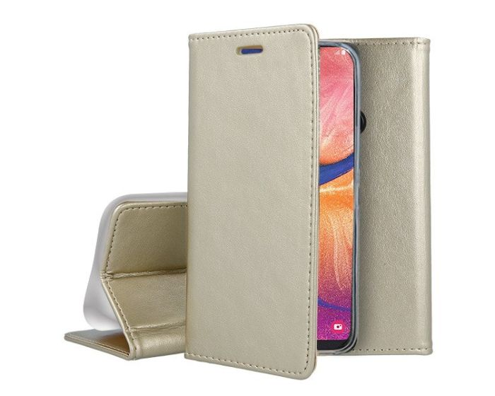 Forcell Magnet Wallet Case Θήκη Πορτοφόλι με δυνατότητα Stand Gold (Samsung Galaxy A20e)