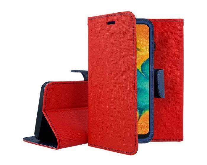 Tel1 Fancy Diary Case Θήκη Πορτοφόλι με δυνατότητα Stand Red / Navy (Samsung Galaxy A20e)
