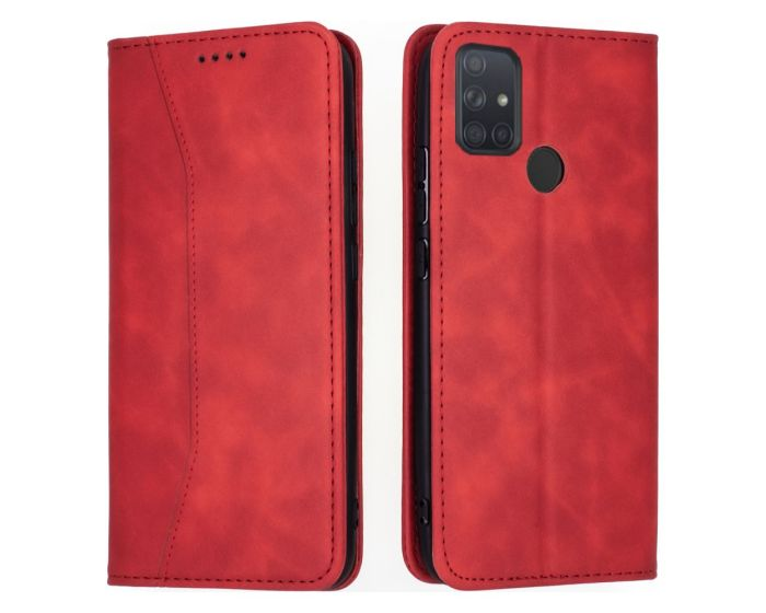 Bodycell PU Leather Book Case Θήκη Πορτοφόλι με Stand - Red (Samsung Galaxy A21s)