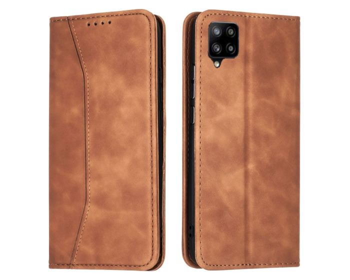 Bodycell PU Leather Book Case Θήκη Πορτοφόλι με Stand - Brown (Samsung Galaxy A42 5G)