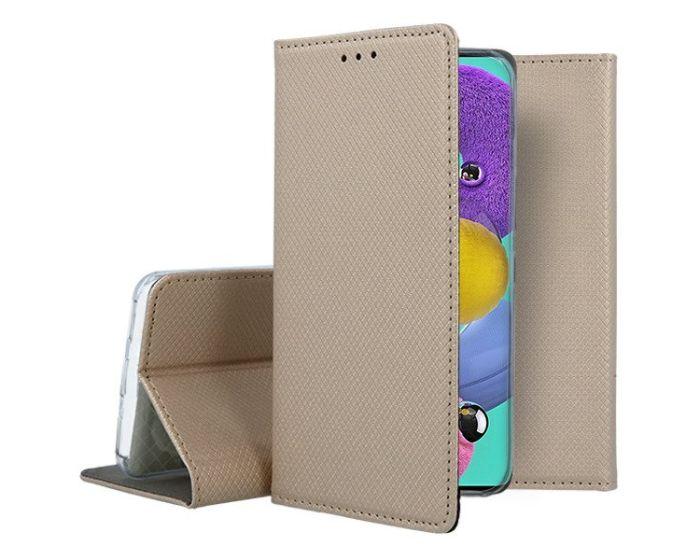 Forcell Smart Book Case με Δυνατότητα Stand Θήκη Πορτοφόλι Gold (Samsung Galaxy A51)