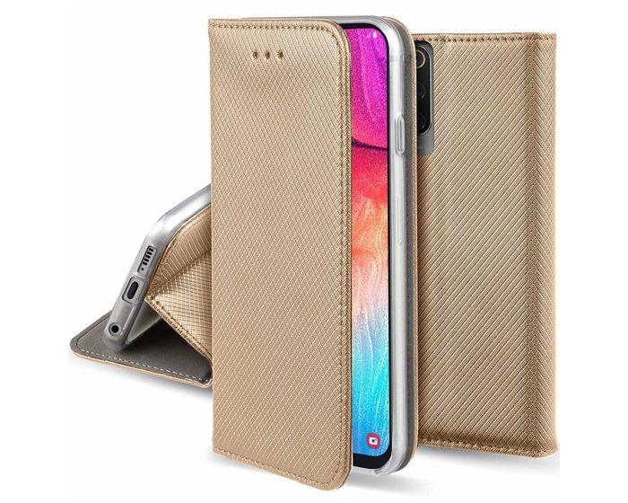 Forcell Smart Book Case με Δυνατότητα Stand Θήκη Πορτοφόλι Gold (Samsung Galaxy A70)