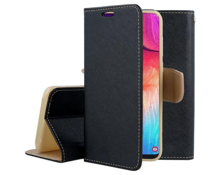 Tel1 Fancy Diary Case Θήκη Πορτοφόλι με δυνατότητα Stand Black / Gold (Samsung Galaxy A70)