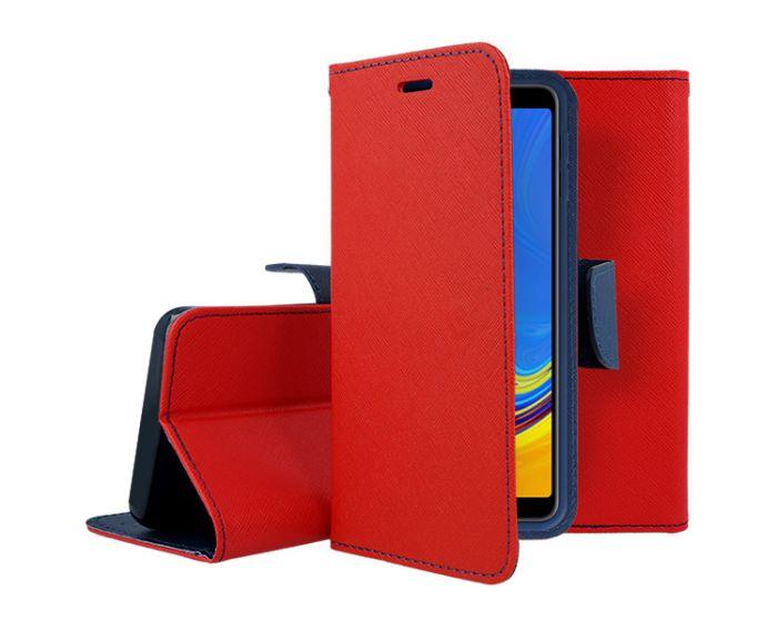 Tel1 Fancy Diary Case Θήκη Πορτοφόλι με δυνατότητα Stand Red / Navy (Samsung Galaxy A70)
