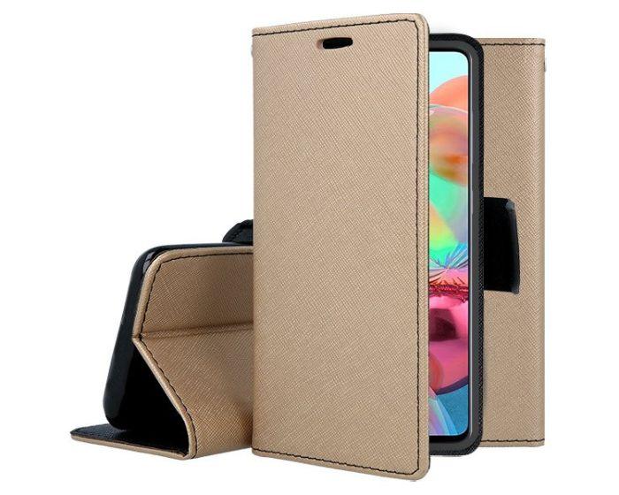 Tel1 Fancy Diary Case Θήκη Πορτοφόλι με δυνατότητα Stand Gold / Black (Samsung Galaxy A71)