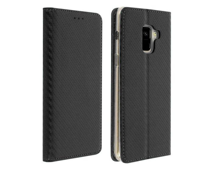 Smart Carbon Book Case με Δυνατότητα Stand - Θήκη Πορτοφόλι Μαύρο (Samsung Galaxy A8 2018)
