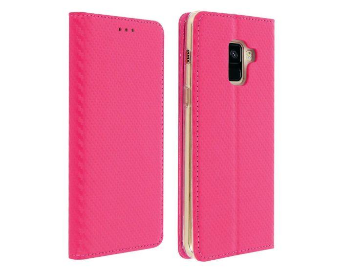 Smart Carbon Book Case με Δυνατότητα Stand - Θήκη Πορτοφόλι Ροζ (Samsung Galaxy A8 2018)