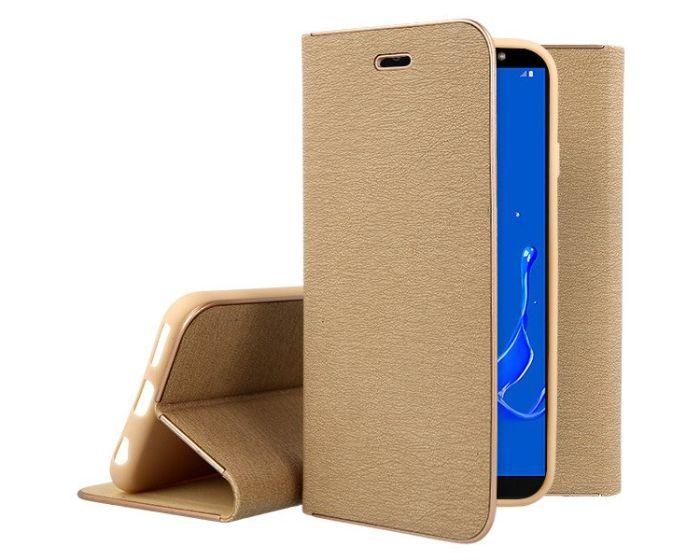 Vennus Book Case με Δυνατότητα Stand - Θήκη Πορτοφόλι Χρυσό (Samsung Galaxy J8 2018)