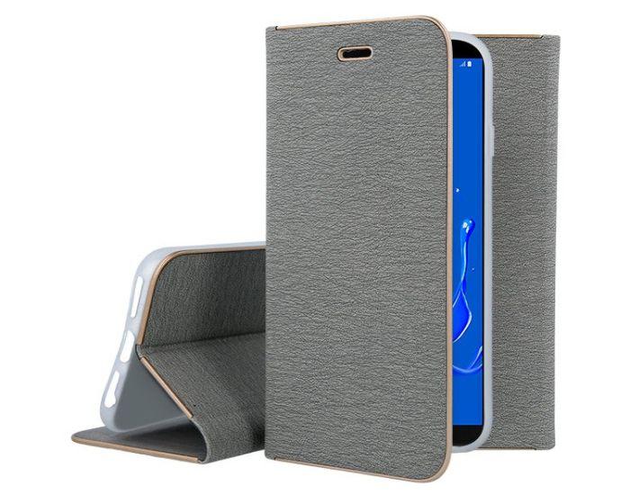 Vennus Book Case με Δυνατότητα Stand - Θήκη Πορτοφόλι Γκρι (Samsung Galaxy J8 2018)