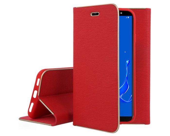 Vennus Book Case με Δυνατότητα Stand - Θήκη Πορτοφόλι Κόκκινη (Samsung Galaxy J8 2018)