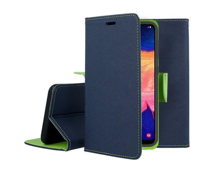 Tel1 Fancy Diary Case Θήκη Πορτοφόλι με δυνατότητα Stand Navy / Lime (Samsung Galaxy M21 / M30s)