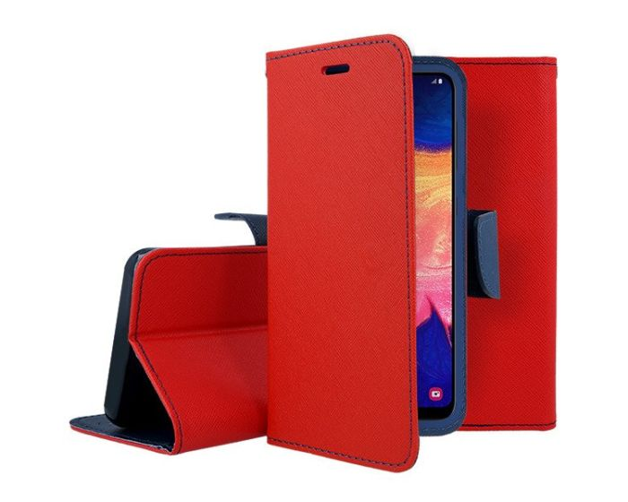 Tel1 Fancy Diary Case Θήκη Πορτοφόλι με δυνατότητα Stand Red / Navy (Samsung Galaxy M21 / M30s)