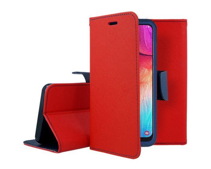 Tel1 Fancy Diary Case Θήκη Πορτοφόλι με δυνατότητα Stand Red / Navy (Samsung Galaxy Note 10 Lite)