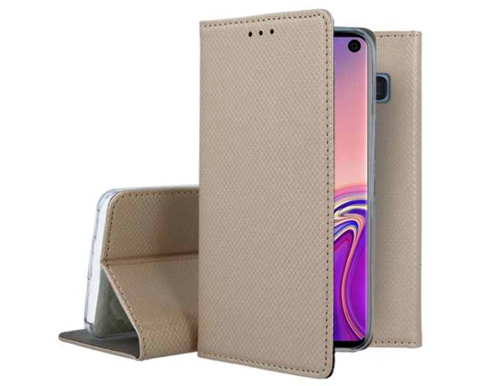 Forcell Smart Book Case με Δυνατότητα Stand Θήκη Πορτοφόλι Gold (Samsung Galaxy S10)