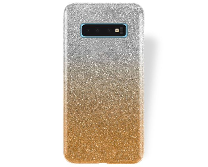 Forcell Glitter Shine Cover Hard Case Clear / Gold (Samsung Galaxy S10)