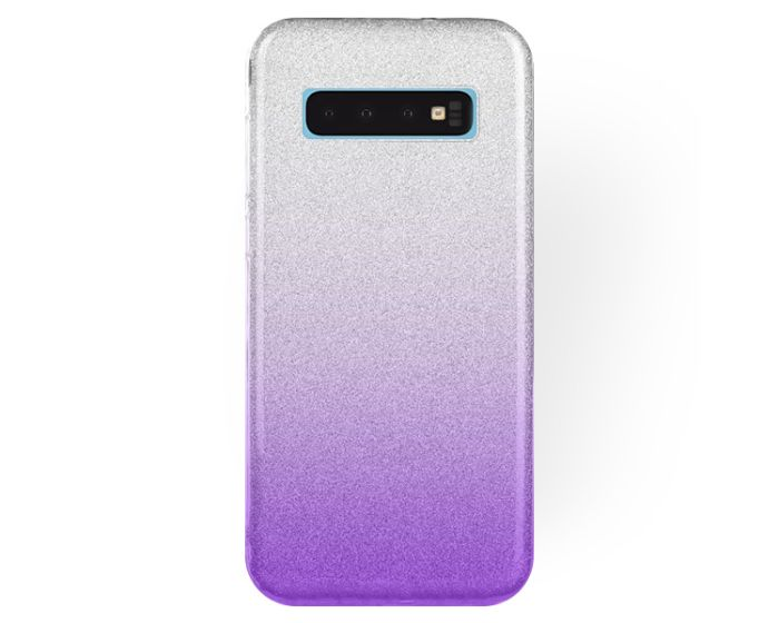 Forcell Glitter Shine Cover Hard Case Clear / Violet (Samsung Galaxy S10)
