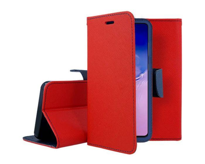 Tel1 Fancy Diary Case Θήκη Πορτοφόλι με δυνατότητα Stand Red / Navy (Samsung Galaxy S10 Lite)