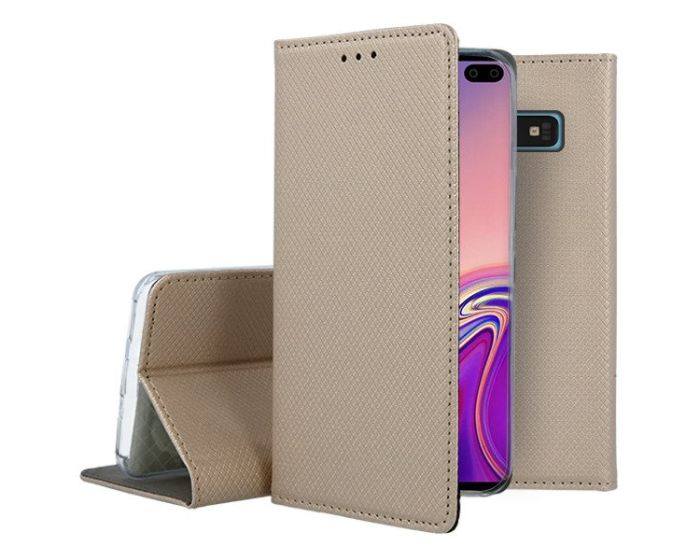 Forcell Smart Book Case με Δυνατότητα Stand Θήκη Πορτοφόλι Gold (Samsung Galaxy S10 Plus)