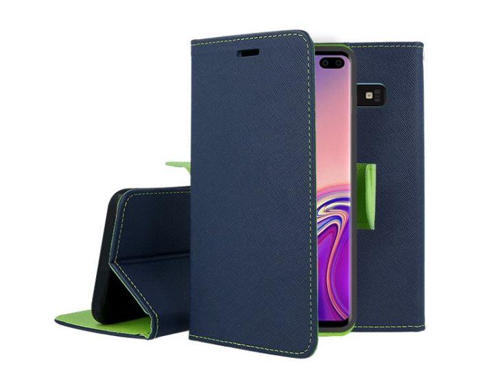 Tel1 Fancy Diary Case Θήκη Πορτοφόλι με δυνατότητα Stand Navy / Lime (Samsung Galaxy S10 Plus)