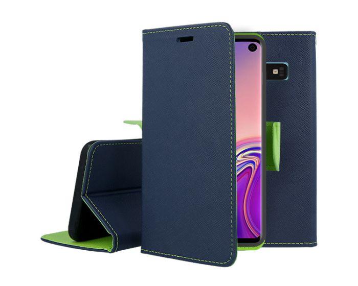 Tel1 Fancy Diary Case Θήκη Πορτοφόλι με δυνατότητα Stand Navy / Lime (Samsung Galaxy S10)