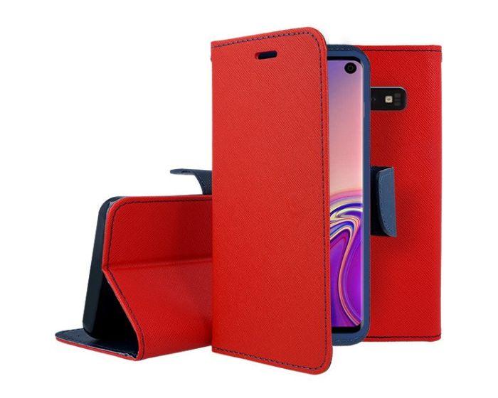 Tel1 Fancy Diary Case Θήκη Πορτοφόλι με δυνατότητα Stand Red / Navy (Samsung Galaxy S10)