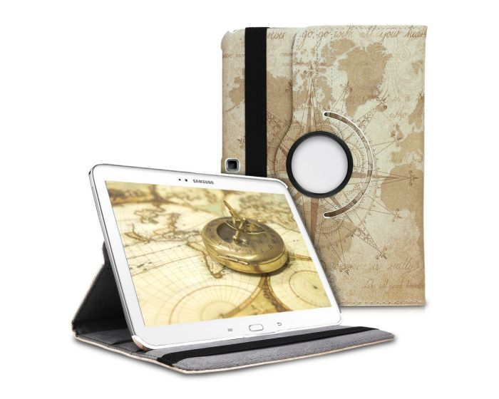KWmobile Περιστρεφόμενη 360 μοίρες Θήκη Case Stand (24547.03) Travel Vintage (Samsung Galaxy Tab 4 10.1)