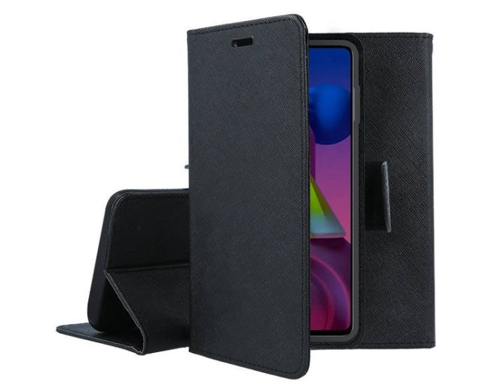 Tel1 Fancy Diary Case Θήκη Πορτοφόλι με δυνατότητα Stand Black (Huawei P Smart 2021)