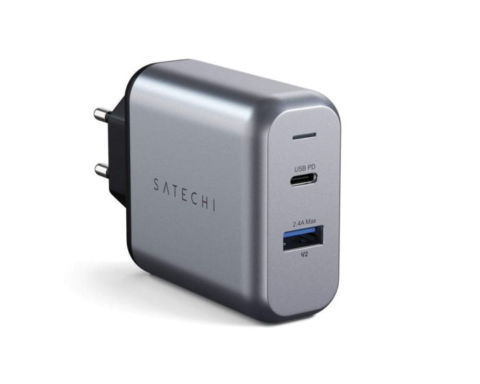 SATECHI Dual-Port Wall Charger USB-A Type-C 30W Φορτιστής Τοίχου - Space Gray