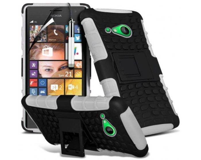 Shockproof Case Ανθεκτική Θήκη με Δυνατότητα Stand  Λευκό + Μεμβράνη Οθόνης (Microsoft Lumia 730 / 735)